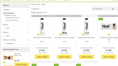 Huel available at Ocado
