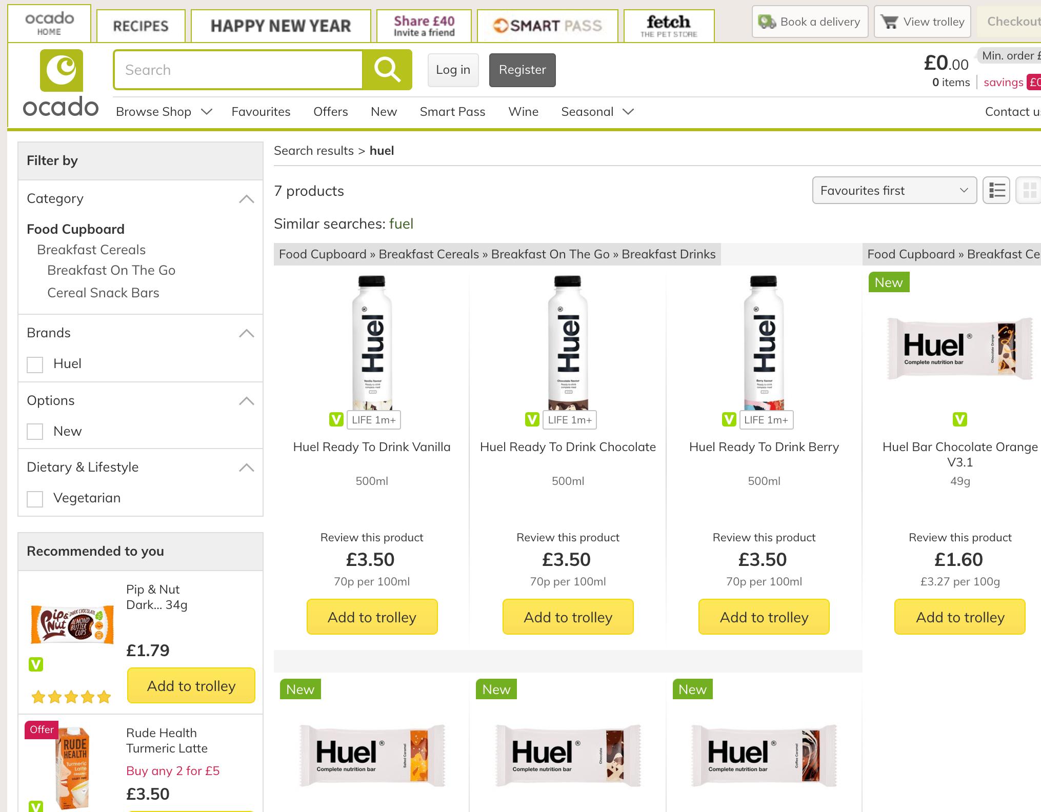 Huel available at Ocado